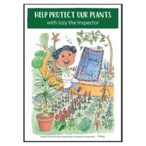 Izzy the Inspector on the front page of her activity book, surrounded by different plants.