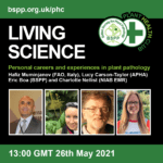 Living Science promotional image with pictures of the two speakers and two chairs. 13.00 GMT 26th May 2021